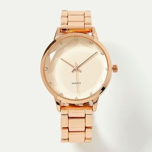 Rose Gold Watch with Faceted Glass